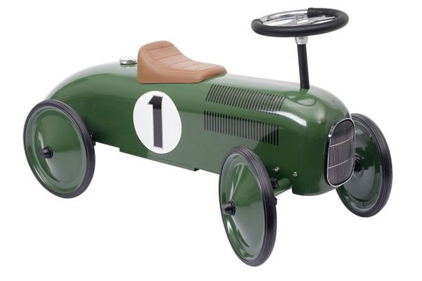 Metalen loopauto Racing Green.